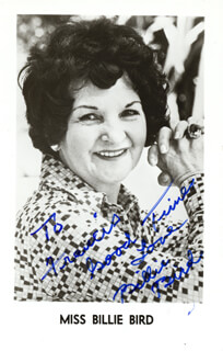 BILLIE BIRD - INSCRIBED PRINTED PHOTOGRAPH SIGNED IN INK