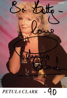 PETULA CLARK - AUTOGRAPHED INSCRIBED PHOTOGRAPH 1990