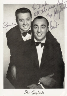 THE GAYLORDS - INSCRIBED PRINTED PHOTOGRAPH SIGNED IN INK CO-SIGNED BY: RONNIE (RONALD L.) FREDIANELLI, BURT (BONALDO BONALDI) HOLIDAY