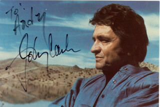 JOHNNY CASH - INSCRIBED PICTURE POSTCARD SIGNED