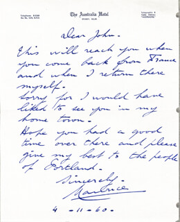 MAURICE CHEVALIER - AUTOGRAPH LETTER SIGNED 04/11/1960