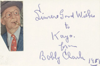 BOBBY CLARK - AUTOGRAPH NOTE SIGNED 1957