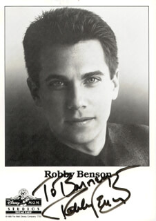 ROBBY BENSON - INSCRIBED PRINTED PHOTOGRAPH SIGNED IN INK