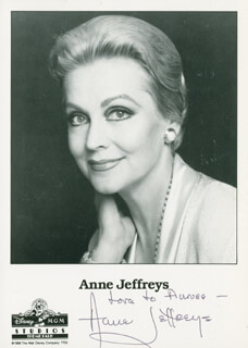 ANNE JEFFREYS - INSCRIBED PRINTED PHOTOGRAPH SIGNED IN INK