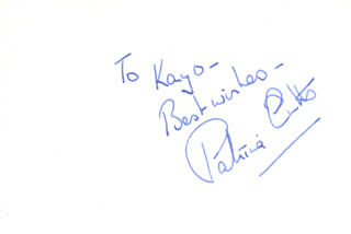PATRICIA CUTTS - AUTOGRAPH NOTE SIGNED