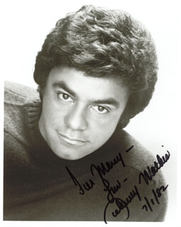 JOHNNY MATHIS - AUTOGRAPHED INSCRIBED PHOTOGRAPH 07/01/1982