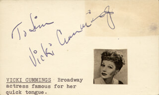 VICKI CUMMINGS - INSCRIBED SIGNATURE