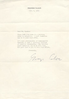 GEORGE D. CUKOR - TYPED LETTER SIGNED 10/05/1973
