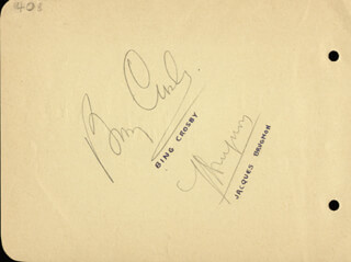 BING CROSBY - AUTOGRAPH CO-SIGNED BY: JACQUES BRUGNON, GOTTFRIED VON CRAMM