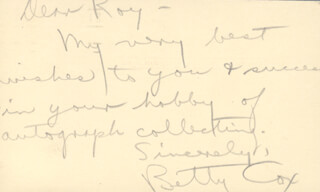 BETTY COX - AUTOGRAPH NOTE SIGNED 1955