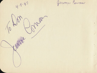 JEROME COWAN - INSCRIBED SIGNATURE CIRCA 1947 CO-SIGNED BY: DONALD WOODS