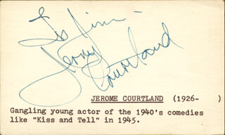 JEROME COURTLAND - INSCRIBED CARD SIGNED