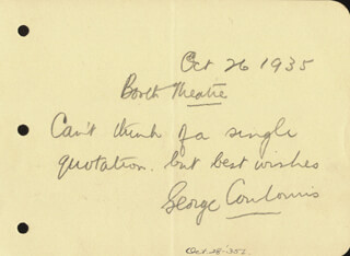 GEORGE COULOURIS - AUTOGRAPH SENTIMENT SIGNED 10/26/1935