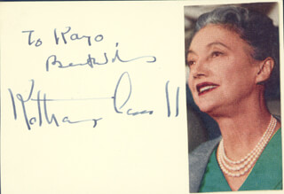 KATHARINE CORNELL - AUTOGRAPH NOTE SIGNED