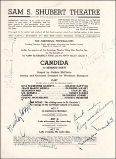 Autographs: CANDIDA BROADWAY CAST - PROGRAM SIGNED CIRCA 1942 CO-SIGNED BY: BURGESS MEREDITH, MILDRED NATWICK, RAYMOND MASSEY, DUDLEY DIGGES, KATHARINE CORNELL