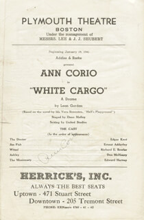 Autographs: ANN CORIO - PROGRAM SIGNED CIRCA 1941