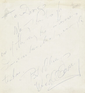 WENDELL COREY - AUTOGRAPH NOTE SIGNED