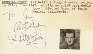 WENDELL COREY - INSCRIBED CARD SIGNED