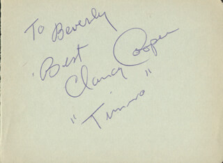 CLANCY COOPER - AUTOGRAPH NOTE SIGNED
