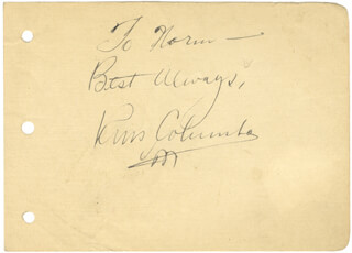 RUSS COLUMBO - AUTOGRAPH NOTE SIGNED