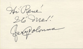 JERRY COLONNA - AUTOGRAPH NOTE SIGNED
