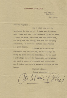 CONSTANCE COLLIER - TYPED LETTER SIGNED 7/23