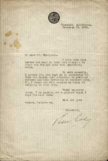 LEW CODY - TYPED LETTER SIGNED 12/30/1919