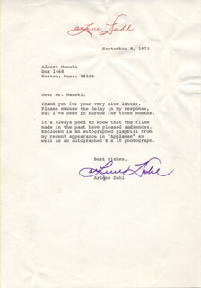 Autographs: ARLENE DAHL - TYPED LETTER SIGNED 09/08/1973