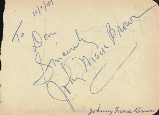 JOHNNY MACK BROWN - AUTOGRAPH NOTE SIGNED CIRCA 1947 CO-SIGNED BY: ANN DVORAK