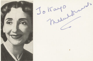 MILDRED DUNNOCK - INSCRIBED SIGNATURE