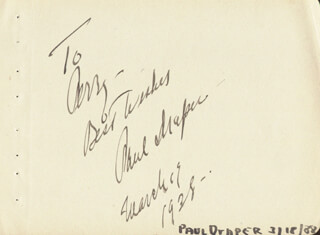 PAUL DRAPER - AUTOGRAPH NOTE SIGNED 03/19/1938