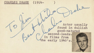 CHARLES DRAKE - AUTOGRAPH NOTE SIGNED