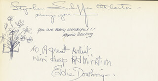 EDDIE DOWLING - AUTOGRAPH NOTE SIGNED CO-SIGNED BY: MAXINE DOWLING, STEPHEN SCHIFFER