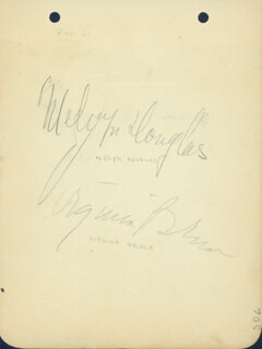 MELVYN DOUGLAS - AUTOGRAPH CO-SIGNED BY: VIRGINIA BRUCE, WALTER CONNOLLY, GILBERT ROLAND, HELEN VINSON
