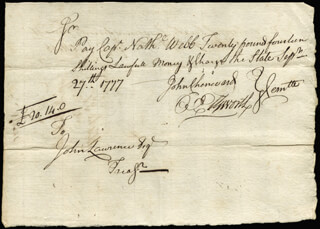 Autographs: CHIEF JUSTICE OLIVER ELLSWORTH - MANUSCRIPT DOCUMENT SIGNED 09/27/1777 CO-SIGNED BY: JOHN CHENWARD, NATHANIEL WEBB