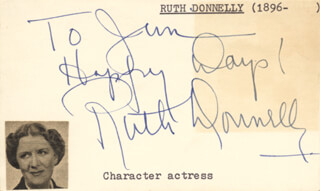 RUTH DONNELLY - AUTOGRAPH NOTE SIGNED CIRCA 1952