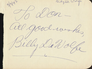 BILLY DE WOLFE - AUTOGRAPH NOTE SIGNED