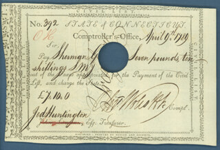 Autographs: GENERAL JEDIDIAH HUNTINGTON - DOCUMENT SIGNED 04/09/1789