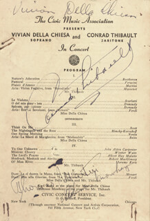 VIVIAN DELLA CHIESA - PROGRAM SIGNED CO-SIGNED BY: CONRAD THIBAULT, ALDERSON MOWBRAY