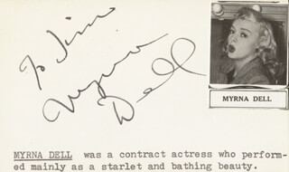 MYRNA DELL - INSCRIBED SIGNATURE