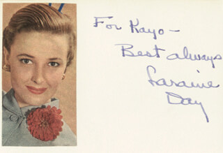 LARAINE DAY - AUTOGRAPH NOTE SIGNED