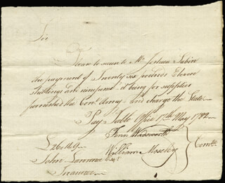 FENN WADSWORTH - MANUSCRIPT DOCUMENT SIGNED 05/17/1782 CO-SIGNED BY: WILLIAM MOSELEY