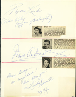 Autographs: DANA ANDREWS - SIGNATURE(S) CIRCA 1957 CO-SIGNED BY: PHYLLIS KIRK, LINDA DARNELL, JERRY LEWIS