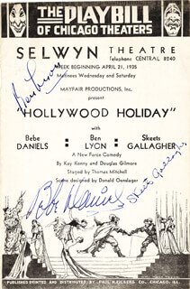 HOLLYWOOD HOLIDAY PLAY CAST - PROGRAM PAGE SIGNED CIRCA 1935 CO-SIGNED BY: RICHARD SKEETS GALLAGHER, BEBE DANIELS, BEN LYON