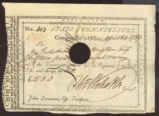OLIVER WOLCOTT JR. - PROMISSORY NOTE SIGNED 04/24/1789 CO-SIGNED BY: GENERAL JEDIDIAH HUNTINGTON