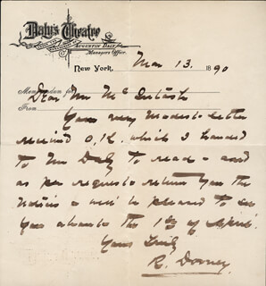 ROBERT DOWNEY - AUTOGRAPH LETTER SIGNED 03/13/1890