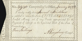 Autographs: ANDREW KINGSBURY - CHECK SIGNED 01/04/1792