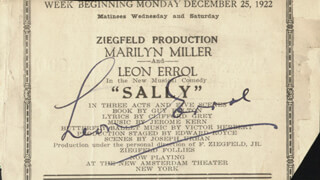 LEON ERROL - PROGRAM PAGE CLIPPING SIGNED 12/25/1922