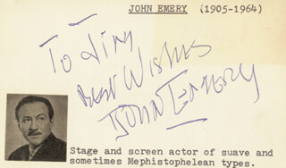 JOHN EMERY - AUTOGRAPH NOTE SIGNED CIRCA 1950