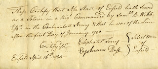 EPHRAIM PAGE - MANUSCRIPT DOCUMENT SIGNED 04/16/1784 CO-SIGNED BY: ELIPHALET TERRY